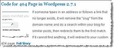 404 Code for WordPress 2.7.1