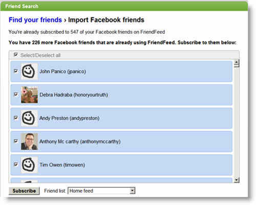 Subscribe to Facebook Friends that are already using FriendFeed: