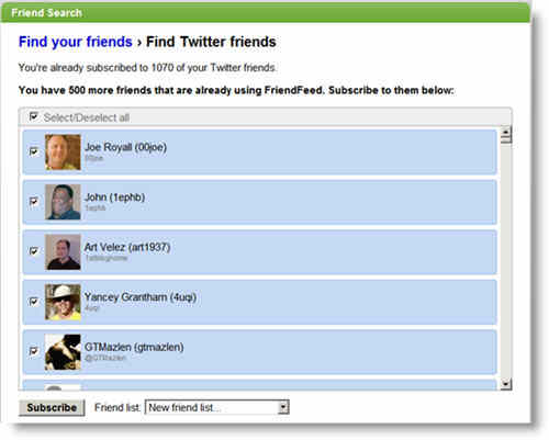 Subscribe to Twitter Friends that are already using FriendFeed: