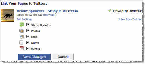 My Facebok page: ArabStudyAustralia is now linked to http://twitter.com/studyaust