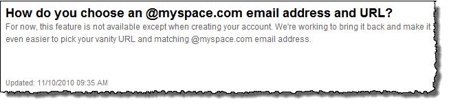 MySpace Vanity URL