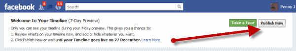 publish facebook timeline