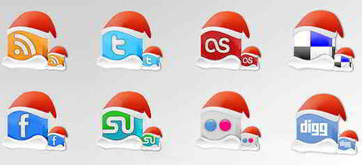 Christmas Social Bookmarking and Networking Icons