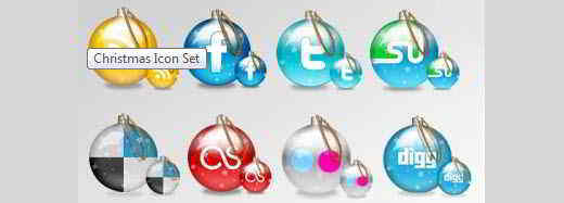 Christmas Baubles Icons Set