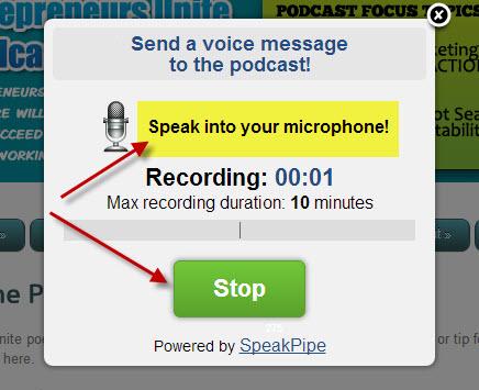 Speak Microphone Recording