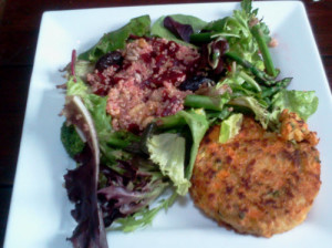 Quinoa Beetroot Salad with Veggie Burger