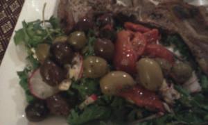 Close-up of Salad (Kale, Olives, Sundried Tomatoes, Radish, Watercress)