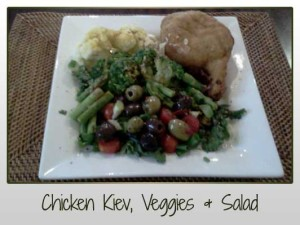 Chicken Kiev, Veggies, Salad