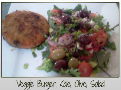 Veggie Burger, Kale, Olive, Salad