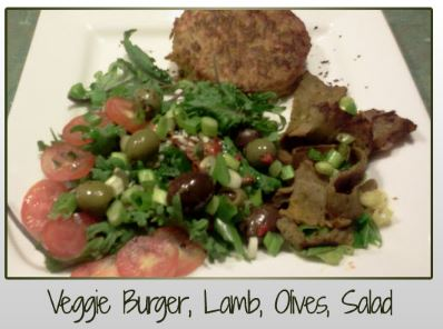 Veggie Burger, Lamb, Olives, Salad