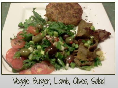Veggie Burger, Lamb, Olives, Salad