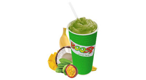 Boost Juice Caribbean Green Smoothie (mango, passionfruit, banana, spinach, mango nectar, coconut milk, coconut water & ice)