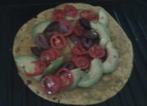 Chickpea Roti, Tomatoes, Avocado, Olives