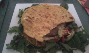 Chickpea Roti, Tomatoes, Avocado, Olives, Eggs, Hamburger, Cheese, Rocket, Lettuce