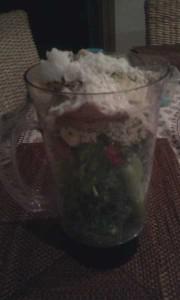 Kale, Cucumber, Banana, Strawberries, Celery, Shredded Coconut, Coconut Oil, Hemp Seeds, Chia Seeds, Cacao Powder, Moringa Powder