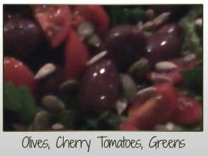 Olives, Cherry Tomatoes, Greens Closeup
