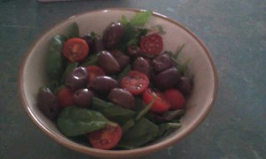 Olives, Cherry Tomatoes, Baby Spinach, Mixed Lettuce, Rocket