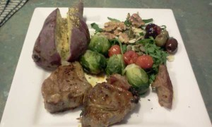 Purple Sweet Potato, Brussels Sprouts, Rocket Walnuts, Olives, Seeds, Lamb Chops