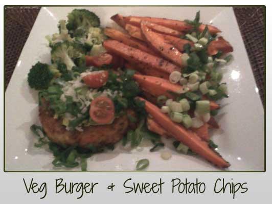 Veg Burger and Sweet Potato Chips