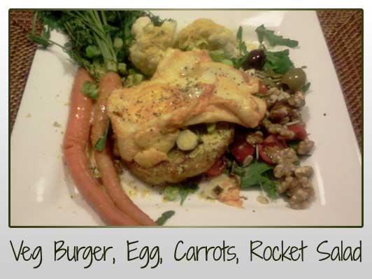 Veggie Burger, Egg, Carrots, Cauliflower, Rocket Salad