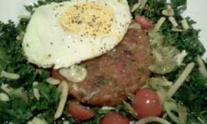 Veg Burger, Egg, Kale, Spring Onion, Cherry Tomatoes, Seeds, Cheese