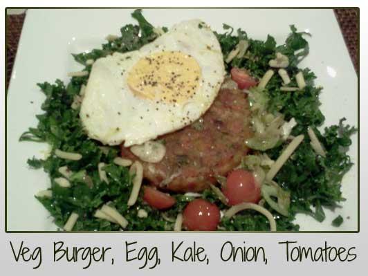 Veg Burger Egg Kale Onion Tomatoes