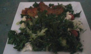 Veggie Burger, Kale, Spring Onion, Cherry Tomatoes, Broccoli, Cauliflower, Pumpkin Seeds, Sunflower Seeds