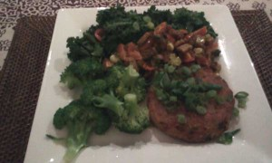 Veg Burger, Broccoli, Kale, Tempeh, Spring Onion, Cherry Tomatoes