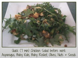 Chicken, Asparagus, Baby Kale, Baby Rocket, Olives, Nuts & Seeds