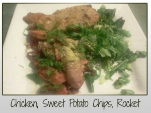baked chicken, sweet potato chips, baby rocket