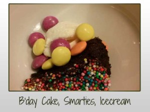 Birthday Cake, Smarties, Icecream