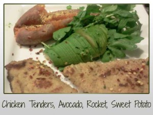 Chicken tender, avocado, rocket, sweet potato