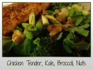 Chicken Tender, Kale, Rocket, Spring Onion, Broccoli, Walnuts, Almonds