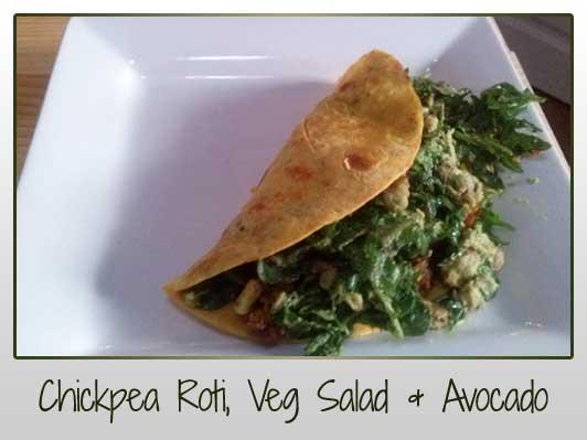 Chickpea Roti, Veg Salad & Avocado