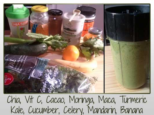 Chia, Vit C, Cacao, Moringa, Maca, Turmeric Kale, Cucumber, Celery, Mandarin, Banana