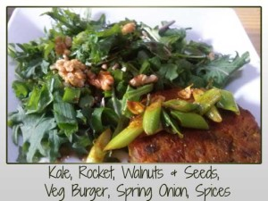 Kale, Rocket, Walnuts & Seeds, Veg Burger, Spring Onion, Spices