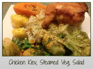 Chicken Kiev, Steamed Veg, Salad