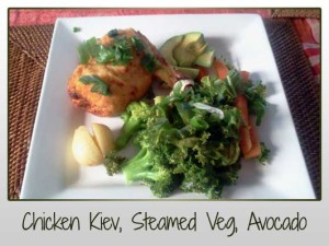 Chicken Kiev, Steamed Veggies, Avocado