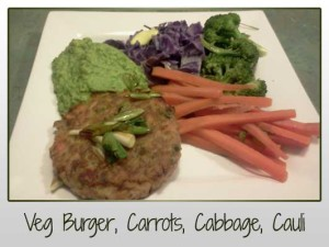Veg Burger, Carrots, Cabbage, Broccoli, Mashed Cauli & Parsley, Kale, Spring Onion