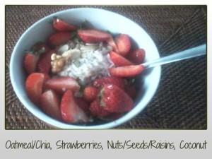 oatmeal chia strawberries raisins nuts seeds