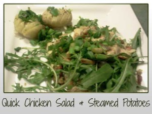 chicken tender, baby rocket, flaked almonds, spring onion, steamed potatoes