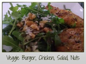Veggie Burger, Chicken, Salad, Nuts