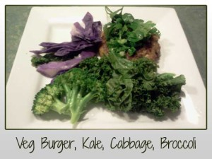 Veg Burger, Kale, Broccoli, Red Cabbage, Spring Onion