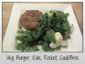 Veg Burger, Kale, Rocket, Cauliflower, Broccoli