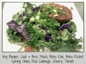 Veg Burger, Cauliflower, Broccoli, Baby Kale, Baby Rocket, Spring Onion, Red Cabbage, Cherry Tomato