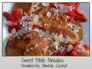 Sweet Potato Pancakes with Strawberries Almonds and Coconut