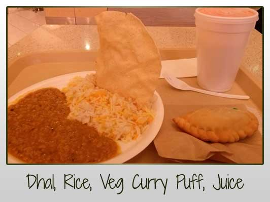 dhal, rice, veg curry puff, fresh juice