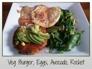 Veg Burger, Eggs, Avocado, Rocket