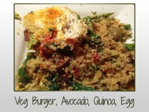 Veggie Burger, Avocado, Egg, Quinoa, Deli Mix