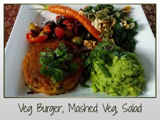 Veg Burger, Mashed Veg, Salad
